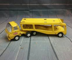 VINTAGE 1960s Tonka Toys Yellow Pressed Steel Car Hauler Transport ...