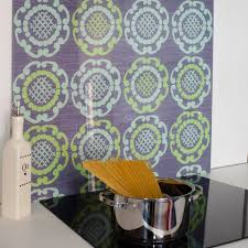 Green Geo In Grey Patterned Glass Splashback