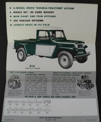 1959 Jeep Pick Up Truck 4 Wheel Drive Sale Brochure Willys Overland ... 1961 Jeep Willys Pickup Youtube 1948 Overland Hyman Ltd Classic Cars Demo Truck At Boston 44 In South Africa Ewillys 1960 Desktop Wallpaper 1360x907 Trucks Etc 4x4 For Sale 61670 Mcg 1953 Dump 1002cct01o1950willysjeeppiuptruckcustomfrontbumper Hot Is The Making A Comeback Drivgline Swap Meet For Sale 33 Willys Pickup Old Vintage Pixie Woods Sales