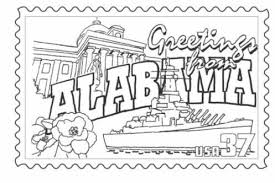 Alabama State Stamp Coloring Page