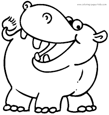 Hippo Color Page Animal Coloring Pages Plate Sheetprintable