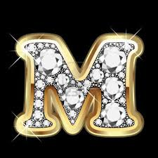 M Gold And Diamond Bling Me Its All About The M LetteringGold