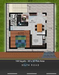 30x30 2 Bedroom Floor Plans by Way2nirman 100 Sq Yds 30x30 Sq Ft South Face House 1bhk Floor