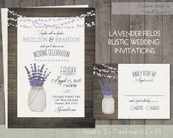 Mason Jar And Lavender Wedding Invitation Rustic Set Barn Wood Dangling Lights Digital Printable DIY Files