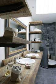 Rustic Master Bathroom With Porcelain Stone Reclaimed Wood Floating Shelves Double Sink Drop
