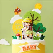 gelb grün vogel bäume picknick skateboard roller mädchen glücklich geburtstag kuchen topper liefert für baby dekoration backen