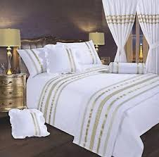 WHITE & GOLD STYLISH LACE DIAMANTE SEQUIN DUVET COVER LUXURY