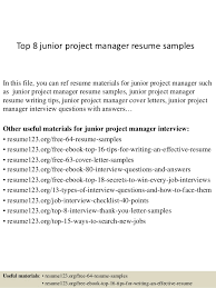 Top 8 Junior Project Manager Resume Samples In This File You Can Ref Materials