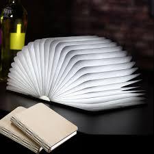 led book shape light portable paper folding light book l table