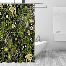 coosun frühling grün gold muster duschvorhang set polyester