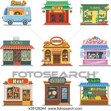 Clipart Of Set Nice Showcases Shops Pizza Bakery Candy Store