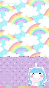 Unicorn And Rainbows Wallpaper Cute
