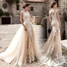 Robe De Mariage New Vintage Wedding Dress 2017 Sheer Neck Cap Sleeve A Line Chapel
