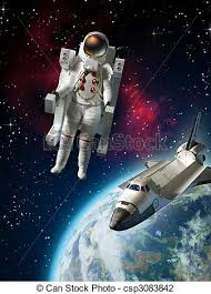 Astronaut and space shuttle exploring space near planet clip