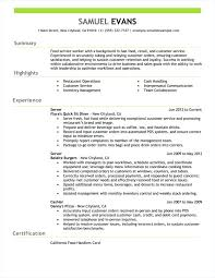 Resume Work Experience Cool Fast Food On Free Examples By Industry Job