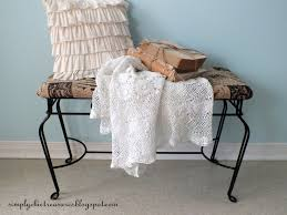French Script Chair Canada by Simply Chic Treasures French Script Burlap Bench