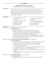 Plumbing Resume Sample Journeymen Plumbers Apprenticeship
