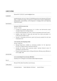 Resume For A Secretary
