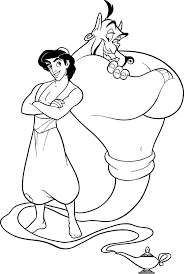 Aladdin And Genie Relaxed Coloring Pages For Kids Printable Aladin