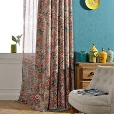 Rustic Living Room Curtains Interior Decoration Home Window Treatments Polyester Cotton Floral Print Panel