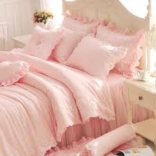 Diamond Lace Princess Bedding Sets Luxury Pink Ruffles Bed Skirt