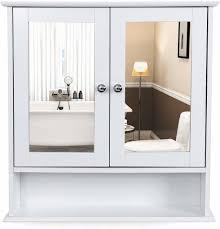 vasagle spiegelschrank mit ablage und 2 türen badschrank weiß 58 x 56 x 13 cm hängeschrank schminkschrank aus holz lhc002