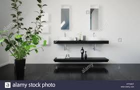 stilvolle schwarze wand doppelwaschbecken einheit mit ablage