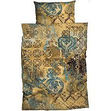 s bettwäsche anessa gold petrol 240 cm x 220 cm orientalisch ornamente absolut hip reine baumwolle satin bettwäsche set