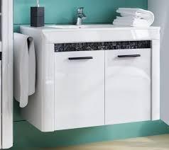 waschbeckenunterschrank waschtisch schrank weiß weiß hochglanz echtes glas mosaik 80cm