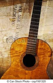 Grunge Acoustic Guitar Old Against Aged Surface