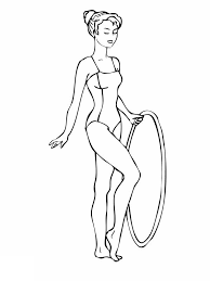 Gymnastic Gymnastics Routine With A Hoop Coloring Page