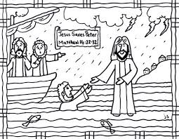 Absolutely Smart Peter Walks On Water Coloring Page Jesus Bible Card