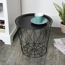 möbel schwarz metall korb tisch ablage top wohnzimmer scandi