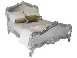 french silver leaf heavy carved 5ft king size bed beds