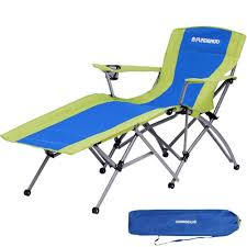 FUNDANGO Heavy Duty Patio Lounge Chair Outdoor Recliner Chair Folding  Camping Chairs With Cup Holder Armrest And Storage Bag, For Garden, Lawn,  One ...