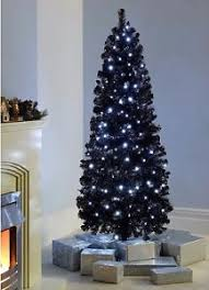 6ft Slim Christmas Tree With Lights by 6ft Black Christmas Tree With 200 White Led Pre Lit Slim Xmas Tree