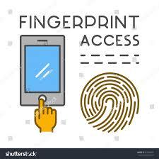 Line Design Symbol Fingerprint Access Modern Stock Vector