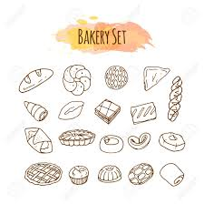 Pastry illustration Hand drawn vector set Baking clip art Stock Vector