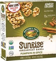 Pumpkin Flaxseed Granola Nutrition Info by Nature U0027s Path Pumpkin N Spice Chewy Granola Bar 7 4 Oz Box