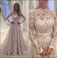 New Arrival Full Lace Applique Long Sleeves 2017 Arabic Wedding Dresses A Line Bridal