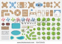 Isolated Vector Illustration Outdoor Furniture And Trees For Landscape Design Top View