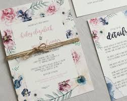 Floral Wedding Invitation Rustic Blush Pink Boho