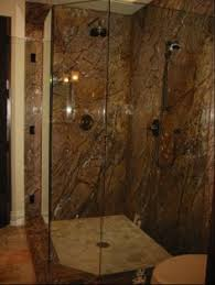 travertine with rainforest brown marble bathroom remodel