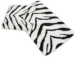 zebra schwarz weiß badematte badteppich podest set teppich breite