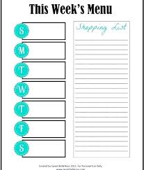 Family Meal Planner Template Blank Dinner Menu Planning Templates Throughout Weekly