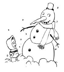 Kid And Snowman Winter Coloring Pages