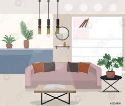 stock vector innenausstattung eines wohnzimmerstudios mit topfpflanzen moderne vektor illustration des wohnungsdesigns