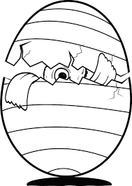 Baby Chicken Peeking From Broken Egg Colouring Page