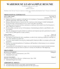 Warehouse Manager Resume Shift From Sample