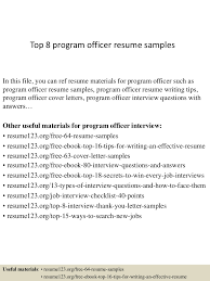 Top8programofficerresumesamples 150331212516 Conversion Gate01 Thumbnail 4cb1427855162